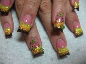 Дизайн ногтей «Закат» с фимо «Бабочки»