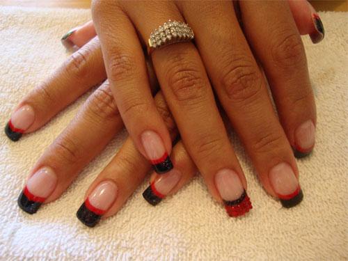 дизайн красный френч ногтей фото