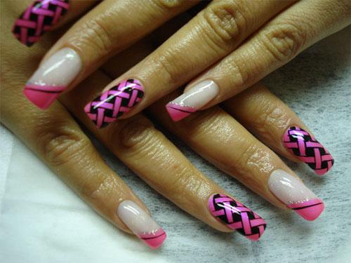 """Дизайн ногтей """"Розовая плетёнка"""""""
