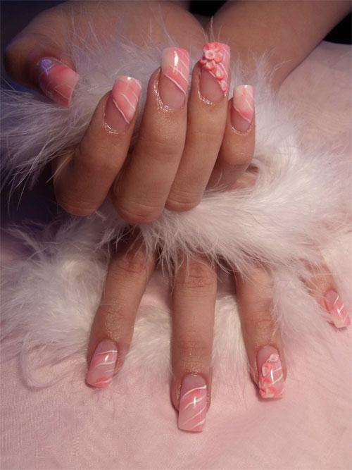 Объемный дизайн ногтей с перьями