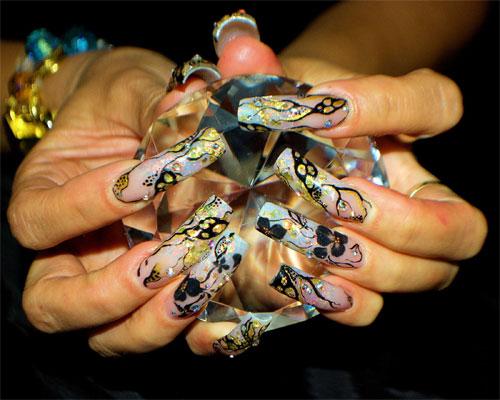 """Дизайн ногтей """"Золотистые цветы"""""""