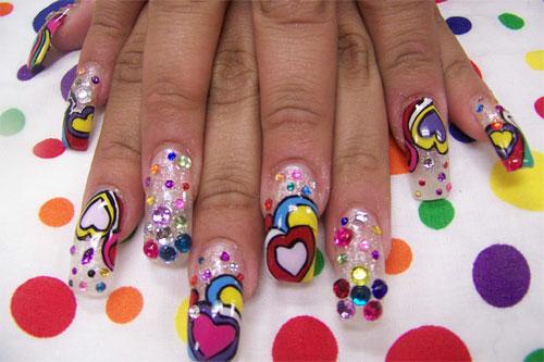 """Дизайн ногтей """"Яркие сердца"""""""
