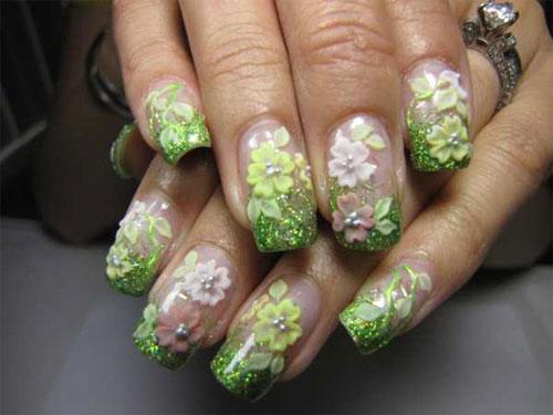 Объемные цветы из акрила на ногтях