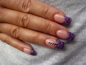 Фиолетовый френч с блестками