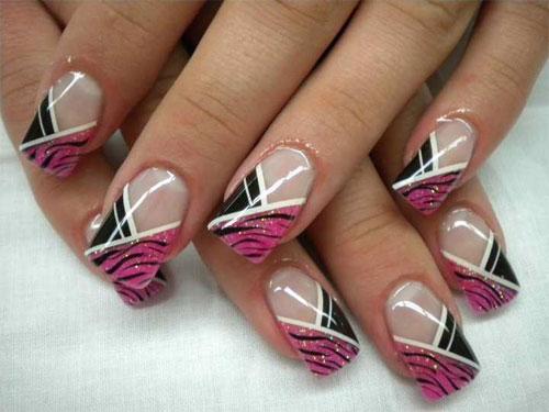 Розовый асимметричный френч