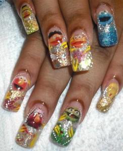 Дизайн ногтей «Улица Сезам»