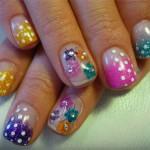 Дизайн ногтей «Горошек с цветами»
