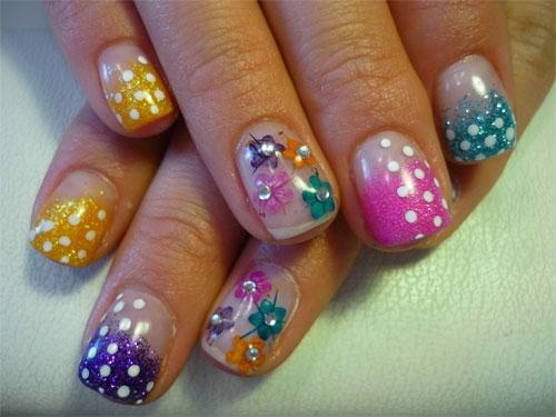 """Дизайн ногтей """"Горошек с цветами"""""""