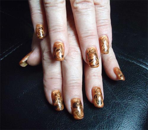 осенний дизайн наращивание ногтей: