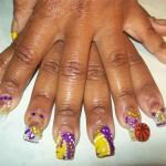 Дизайн ногтей для фанатов клуба НБА Lakers