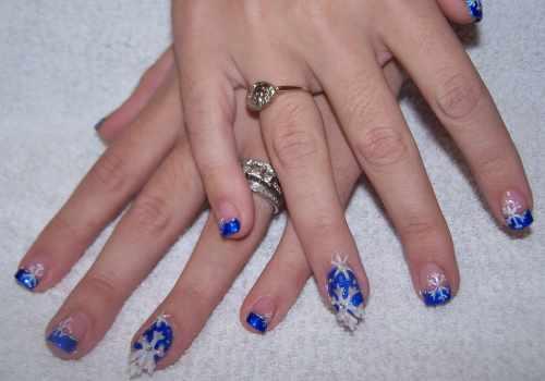 """Дизайн ногтей """"Зимние снежинки"""""""