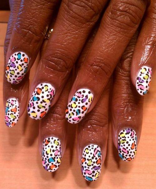 """Дизайн ногтей """"Цветной леопард"""""""