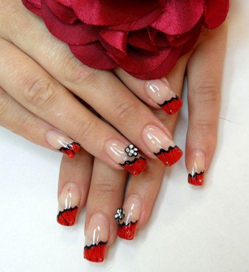 Фото дизайн ногтей красный френч
