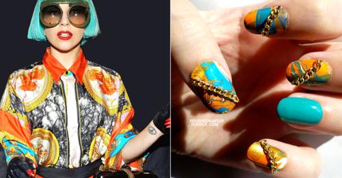 Леди Гага любит мраморный маникюр