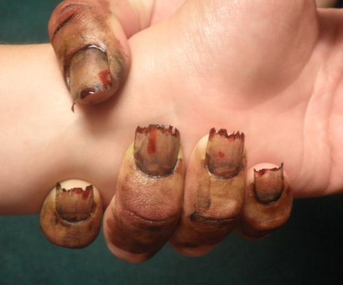"Дизайн ногтей ""Зомби"" для вечеринки Хэллоуин"