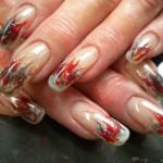 Дизайн «Языки пламени» на гелевых ногтях