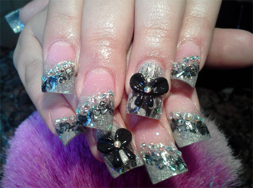 Объемный дизайн ногтей с бантами