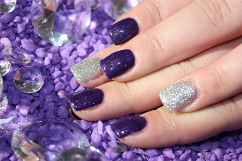 """Дизайн ногтей """"Фиолетовый и серебро"""""""