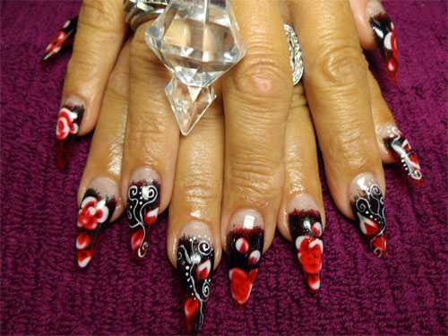 """Дизайн ногтей """"Красные цветы"""""""